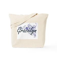 Gracelyn Artistic Name Design with Flower Tote Bag