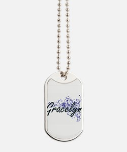 Gracelyn Artistic Name Design with Flower Dog Tags