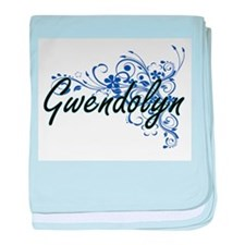 Gwendolyn Artistic Name Design with F baby blanket