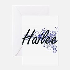 Hailee Artistic Name Design with Fl Greeting Cards