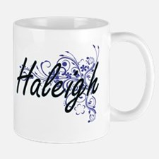 Haleigh Artistic Name Design with Flowers Mugs