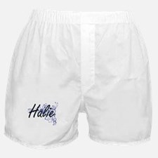 Halie Artistic Name Design with Flowe Boxer Shorts