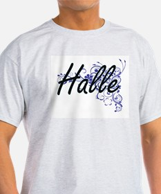 Halle Artistic Name Design with Flowers T-Shirt