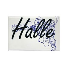 Halle Artistic Name Design with Flowers Magnets