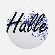 Halle Artistic Name Design with Flo Round Ornament