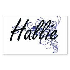 Hallie Artistic Name Design with Flowers Decal