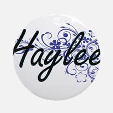 Haylee Artistic Name Design with Fl Round Ornament