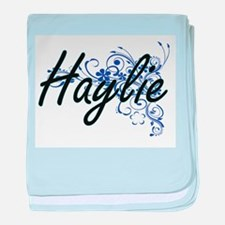 Haylie Artistic Name Design with Flow baby blanket