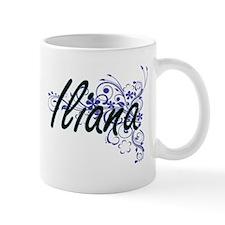 Iliana Artistic Name Design with Flowers Mugs
