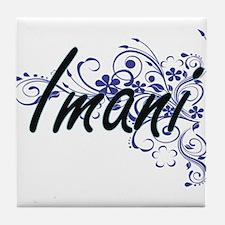Imani Artistic Name Design with Flowe Tile Coaster