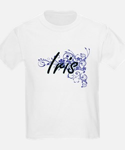 Iris Artistic Name Design with Flowers T-Shirt