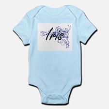 Iris Artistic Name Design with Flowers Body Suit