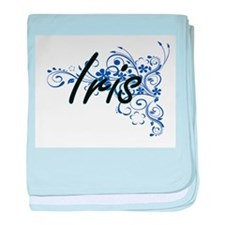 Iris Artistic Name Design with Flower baby blanket