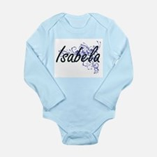 Isabela Artistic Name Design with Flower Body Suit