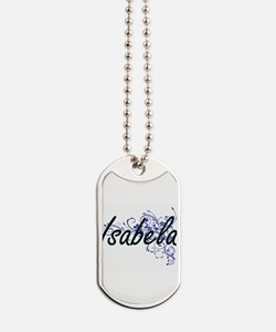 Isabela Artistic Name Design with Flowers Dog Tags