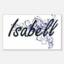Isabell Artistic Name Design with Flowers Decal