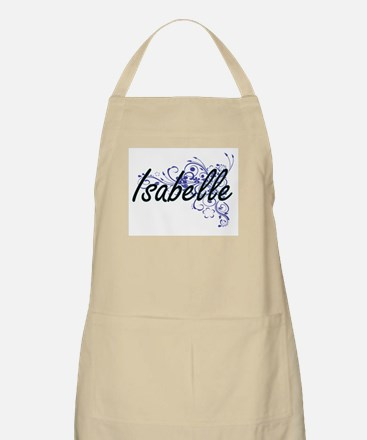Isabelle Artistic Name Design with Flowers Apron
