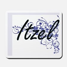 Itzel Artistic Name Design with Flowers Mousepad