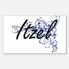 Itzel Artistic Name Design with Flowers Decal