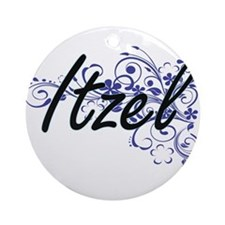 Itzel Artistic Name Design with Flo Round Ornament