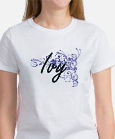 Ivy Artistic Name Design with Flowers T-Shirt