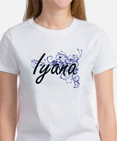 Iyana Artistic Name Design with Flowers T-Shirt