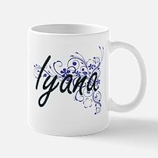 Iyana Artistic Name Design with Flowers Mugs