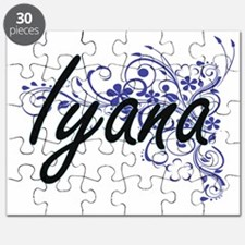 Iyana Artistic Name Design with Flowers Puzzle