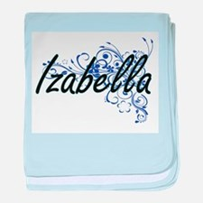 Izabella Artistic Name Design with Fl baby blanket