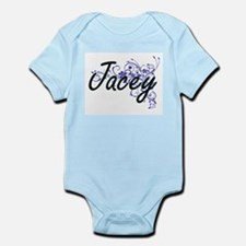 Jacey Artistic Name Design with Flowers Body Suit