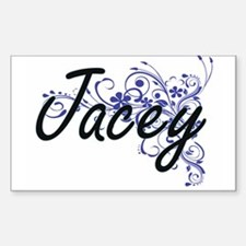 Jacey Artistic Name Design with Flowers Decal