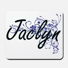 Jaclyn Artistic Name Design with Flowers Mousepad