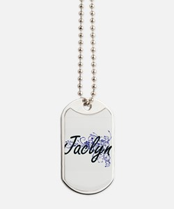 Jaclyn Artistic Name Design with Flowers Dog Tags