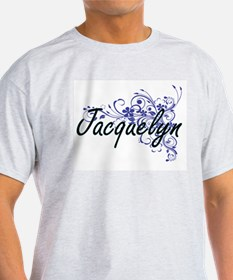 Jacquelyn Artistic Name Design with Flower T-Shirt