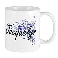 Jacquelyn Artistic Name Design with Flowers Mugs