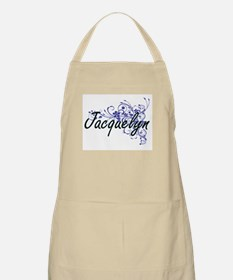 Jacquelyn Artistic Name Design with Flowers Apron