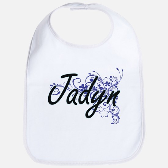 Jadyn Artistic Name Design with Flowers Bib