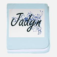 Jadyn Artistic Name Design with Flowe baby blanket