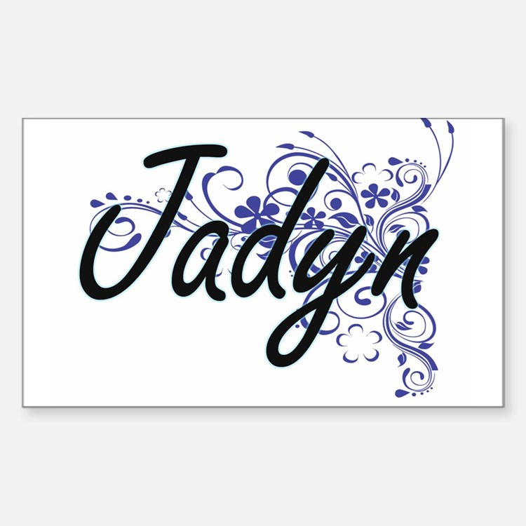 Jadyn Artistic Name Design with Flowers Decal
