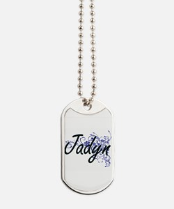 Jadyn Artistic Name Design with Flowers Dog Tags
