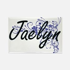 Jaelyn Artistic Name Design with Flowers Magnets