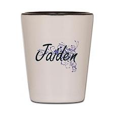 Jaiden Artistic Name Design with Flower Shot Glass