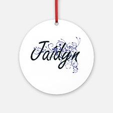 Jaidyn Artistic Name Design with Fl Round Ornament