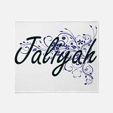 Jaliyah Artistic Name Design with Fl Throw Blanket