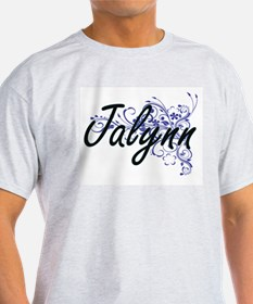 Jalynn Artistic Name Design with Flowers T-Shirt