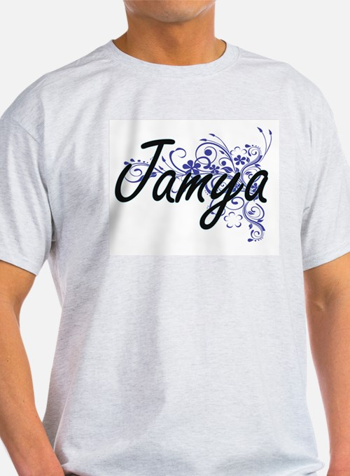 Jamya Artistic Name Design with Flowers T-Shirt