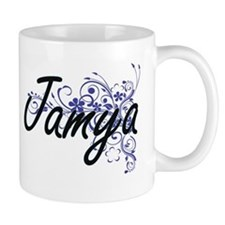 Jamya Artistic Name Design with Flowers Mugs