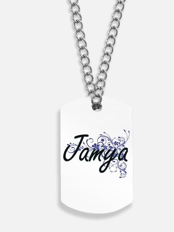 Jamya Artistic Name Design with Flowers Dog Tags