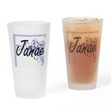Janae Artistic Name Design with Flo Drinking Glass