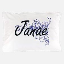 Janae Artistic Name Design with Flower Pillow Case